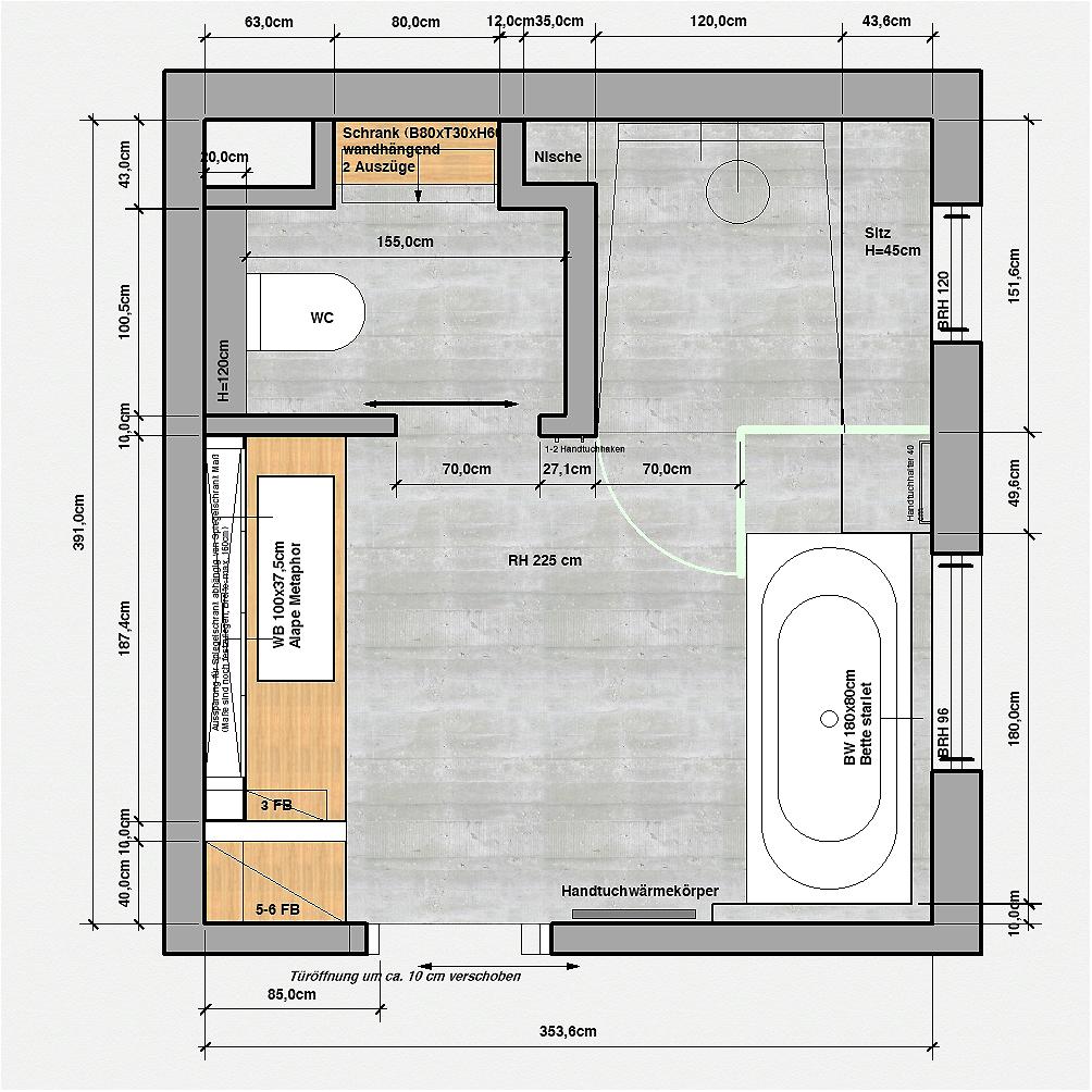 Planen. Badezimmer. Ein Grundriss, drei Varianten. – t raumwerk